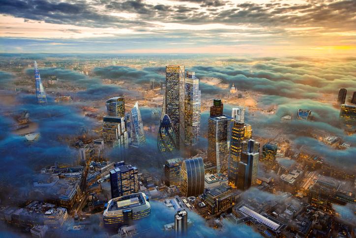 Futuristische Stadt von oben