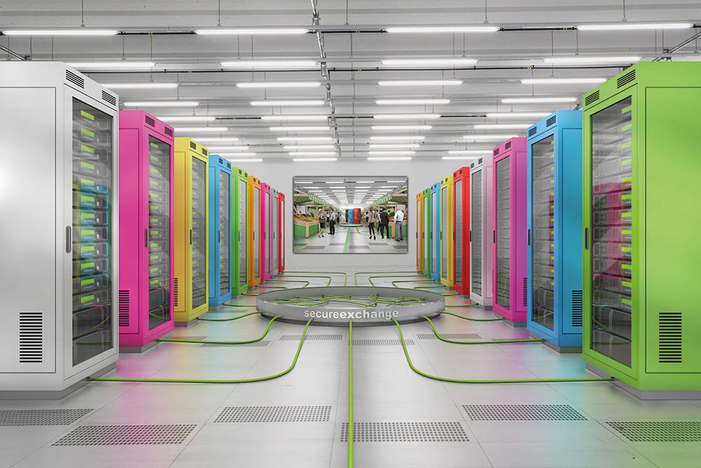 Ein Raum mit bunten Servern. Bildquelle: maincubes