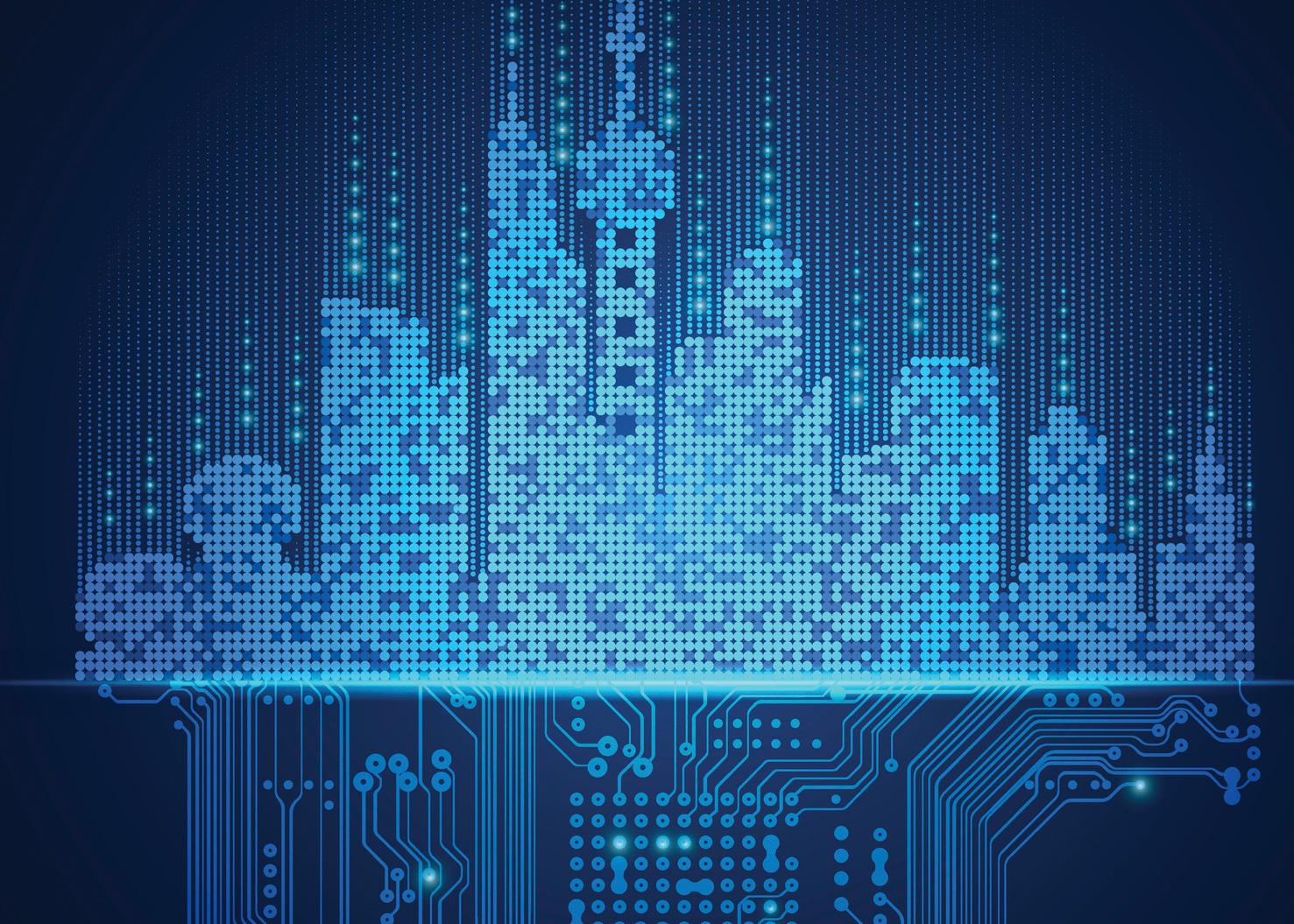 Grafische Darstellung einer Skyline einer Großstadt. Thema: Smart Building