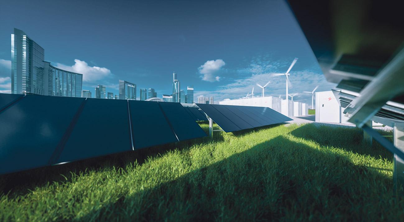Solaranlagen und Windräder. Thema: Nachhaltige Energie
