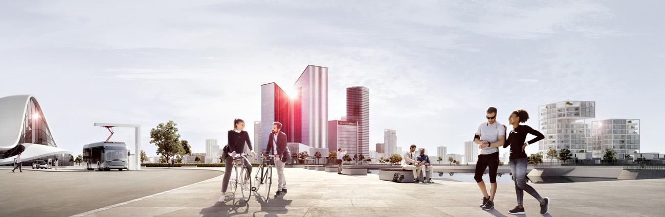 Futuristische Stadtansicht mit Radfahrern und Joggern im Vordergrund.