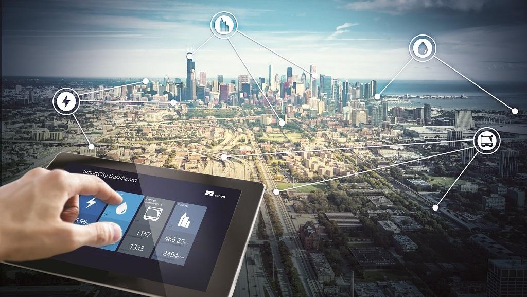 Über ein Dashboard lassen sich verschiedene Funktionen der Stadt verwalten und steuern.
