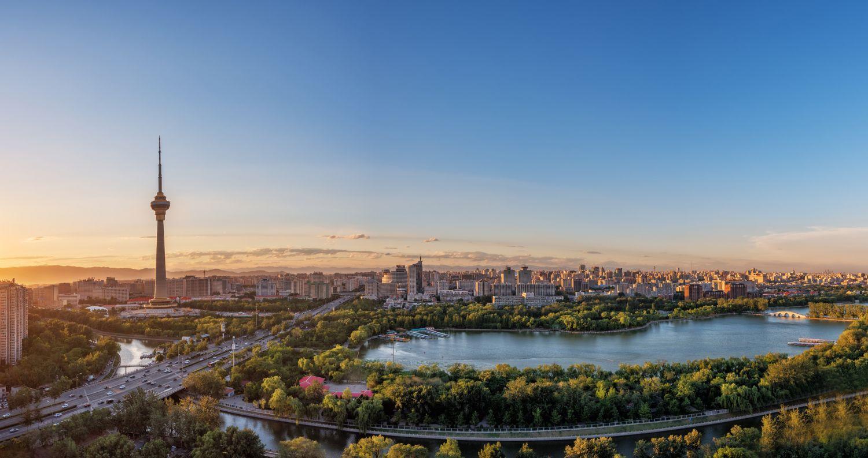 Panorama von Berlin im Sonnenaufgang, Berlin ist die größte Stadt in Deutschland.