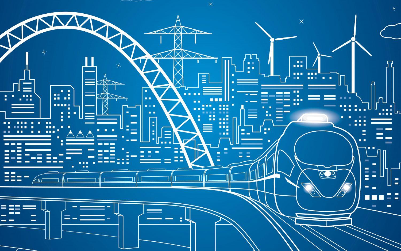 Grafische Darstellung einer Stadt mit einem Zug im Vordergrund.